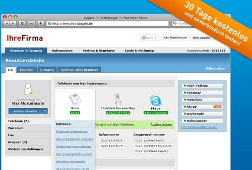 Sipgate Team - die Firmen-Telefonanlage im Netz
