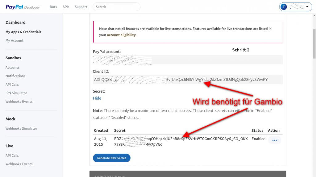REST Paypal Daten erstellen